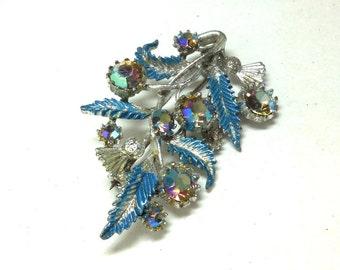 Vintage Brooch Watermellon Rhinestones Flower/Thistle blue enamel leaves Victorian revival English 40s retro