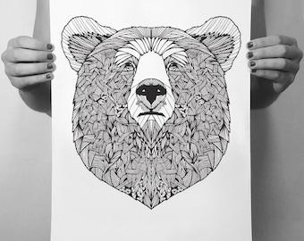 Bear Print | Bear Drawing Black and White Art Print