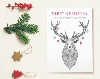 Funny Deer Christmas Card | Baubles Stag Christmas Card design