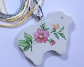 Sheep Pendant Broken China Floral Sterling Silver Plate Bail with Satin Cord #479