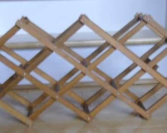 Vintage Wine Rack - Mid-Century Wood Wine Rack, Eight Slot Accordian Rack, Wooden Bottle Rack, Bar Rack, Mancave, Home Decor, Rustic Wedding