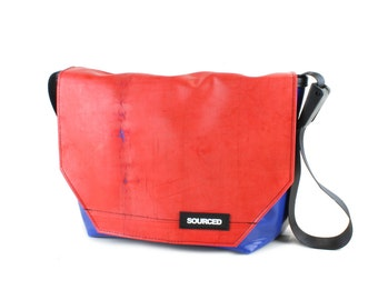 Large Messenger Bag made from Recycled Truck Tarp, Man Bag, Satchel Style Bag, MacBook Bag (52.08)