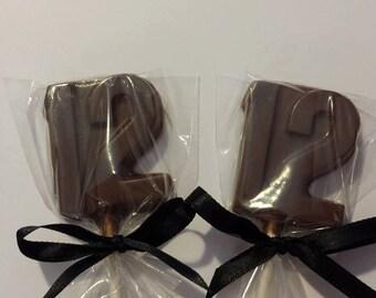 Number 12 Chocolate Lollipops, #12 Lollipops, Party Favors, Candy Table, Centerpiece