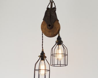 Antique Barn Pulley Pendant, Industrial modern lighting