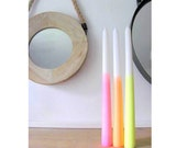 Neon Set -3 Dip Dye Ombre Candles -Party Supplies-taper candles-candle light-entertaining-bohemian decor