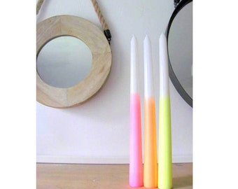 7 Dip Dye Ombre Candles Neon Party Supplies-taper by ebwhandmade