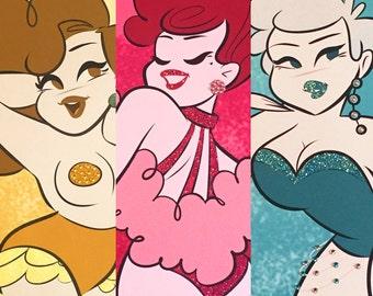 Burlesque, glitter art, sparkle art, wall art, giclee print, gift for her, retro cartoon, illustration art print, body positive, pin up art