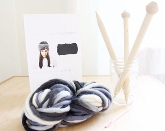 Chunky Knit Headband, knit your own kit includes 100% wool, birch knitting needles, instructions, darning needle
