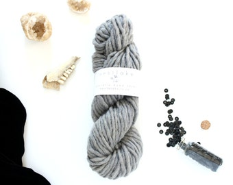 Charcoal Gray Yarn, Naturally Dyed in Canada