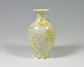 Sunny Yellow Crystalline Glazed Bud Vase