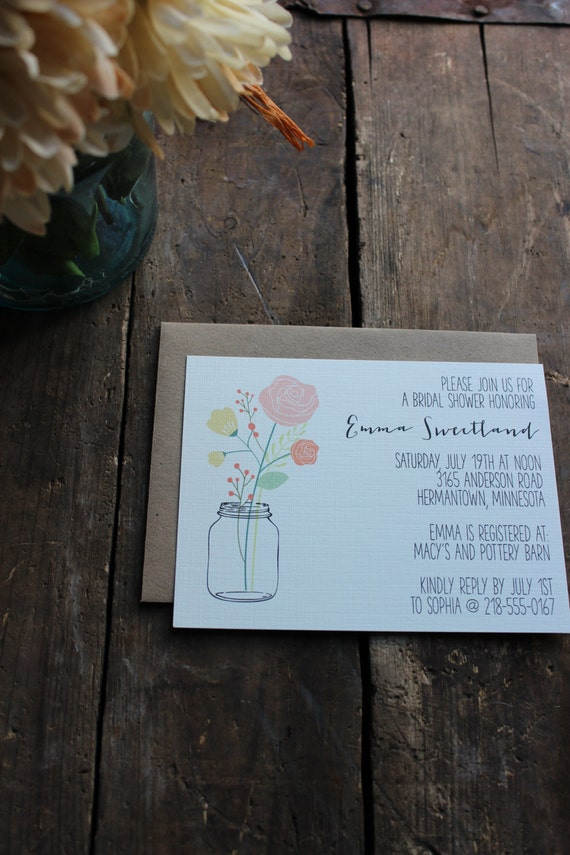 Rustic Mason Jar Bridal Shower Invitation // Garden or Country Theme // Simple and Elegant Shower - You choose how many