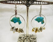Turquoise Dolphin and Sea Shell Silver Hoop Earrings OOAK