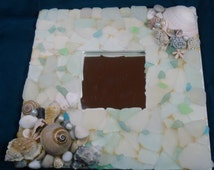 Genuine sea glass miror, white square mirror, mosaic, aqua, shells, pebbles, beads, handmade, ooak, summer