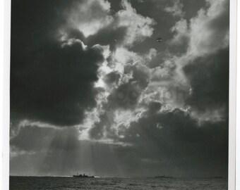 World War Ii - Vintage Publication 8x10 Photograph - Storm Over Naval Convoy