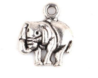 Antique Silver Tone Elephant Charm Pendant 16x13mm with loop destash collection sale usa 1 2 5 10 100 200