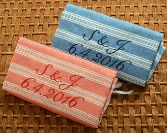 Set of 2 Wedding Turkish Towel COTTON PESHTEMAL Personalized Turkish Towels - Wedding Gift - Red and Blue- Wedding Gift Bachelorette Party