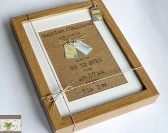 New Baby Bespoke Map Keepsake - Newborn Baby Girl Boy Framed Wall Art  - Handmade in Ireland