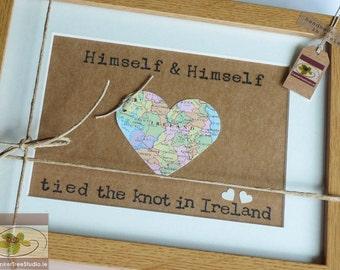 Same Sex Wedding Keepsake - Love Map Heart - Irish Wedding - Personalised Framed Wall Art  - Handmade in Ireland