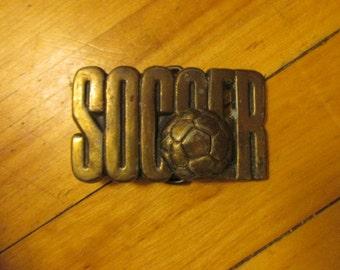 Vintage Soccer Belt Buckle Brass Plated Metal Heavy Duty