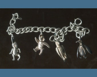 """Size 7.25"""" Bracelet : 4 Articulated Moving Charms Sterling Bear Parrot Penguin Rabbit  (BB-19808)"""
