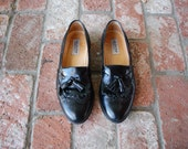 Vintage Mens Size 8.5 Alfani Leather Slip On Loafers Wingtips Frill Fringe Tassel Loafers Dress Shoes Wedding Suit Shoes Italian Oxfords