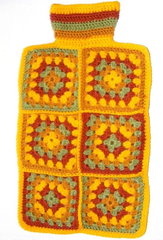 Crochet Granny Square Hot Water Bottle Cover Pattern : Crochet pattern - hot water bottle cover using granny ...