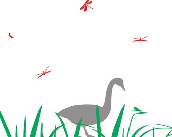 Farm Animal Nursery Decal, Grass, Goose, Dragonflies, Flies Wall Decals, Farm Animal Wall Art, Nursery Decal, decal stickers for kids