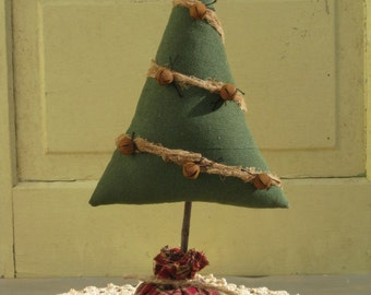 Christmas Tree - Primitive - Ready 2 Ship - w/ Rusty Bells & Cheesecloth - Shelf Sitter - Centerpiece - Cupboard Tuck - Fabric - Table Decor