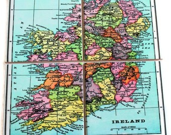 Vintage Ireland Map Coasters_Personalized Map_Tile Coaster Set_Gifts under 50_Custom Travel Hostess Gift_Wedding Favor_Coworker gift_for him