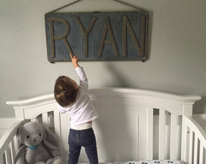 Large Sign Name MADE TO ORDER Personalize Adresses Shops Reclaimed Wood Rope Letters
