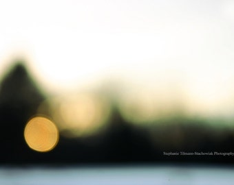 Abstract, Winter, Sunset, Orange, Pine,  Photography Print, Nature Photography, Spring, Summer, Bokeh