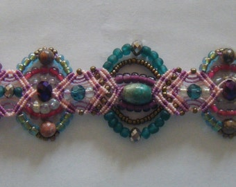 Pink and Purple Micromacrame Bracelet