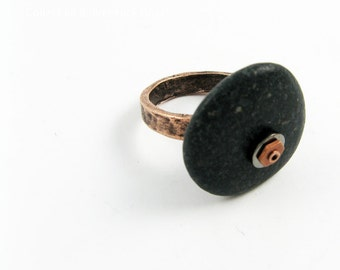 Nature Ring - OOAK River Rock Statement Ring in Black with Hammered Copper Ring Band in Size 6 1/2