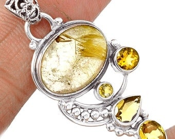 Sale, Beautiful Small Golden Rutile and Citrine Pendant, 925 Silver with Organza Cord