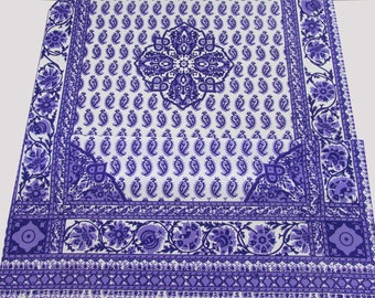 "Purple Paisley 2 Fabric Pieces with border on 4 sides - @ 68"" x 44"" - cotton blend - 1970s - decor fabric"