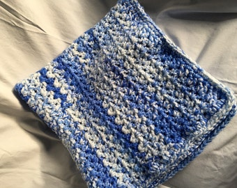 Baby boy afghan / blanket - soft and cozy - beautiful blues with white