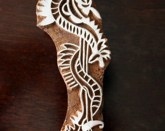 Indian Wood Stamps, Tjaps, Wood Block Stamps, Textile Stamps, Pottery Stamps- Staff of Asclepius