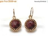 WINTER SALE - small stone earrings,pink rhodonite earrings,gemstone earrings,round dangle earrings,delicate earrings
