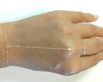 Simple Chain Slave Bracelet, Slave Bracelet, Hand Chain Bracelet in Gold Filled or Sterling Silver