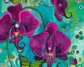 """Dancing Butterflies, 8"""" x 10"""" PRINT - orchids, butterflies, purple, turquoise, insects, orchid painting, butterfly art"""