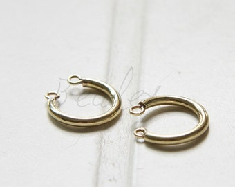 10 Pieces / Raw Brass / Half Circle / Horse Shoe / 2 Loops / Charm  - 12x15mm (C3205//-F53)