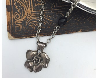 Flower Necklace Sterling Silver Flower Pendant Necklace signed EXEX Claudia Agudelo pendant
