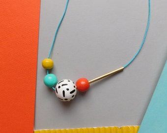 Simple Medium Sized Hand Painted Wooden Bead Necklace