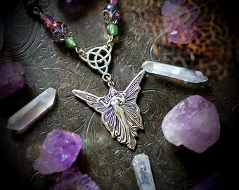 Fairy Necklace, fantasy jewelry, fairy jewelry, pagan necklace, wiccan jewelry, faerie, wicca, whimsical, boho chic, celtic, pagan jewelry