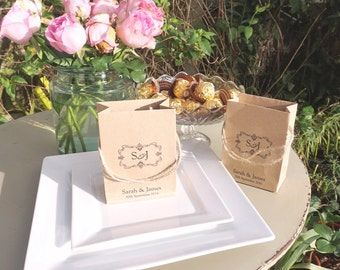 Wedding favour bags mini brown paper bags gifts sweets jewellery chocolates boxes personalised