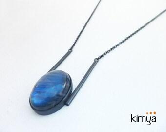 Labradorite Necklace - Oxidized Silver Labradorite Necklace - Minimalist OOAK Gemstone Unique Statement Necklace - Contemporary Jewelry