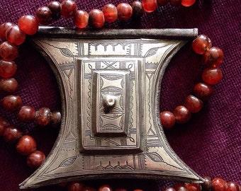 Tuareg Silver Gris Gris AMULET Tscherot, metal back & Carnelean Beads