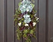 Spring Wreath-Summer Wreath-Teardrop Twig Door Swag Vertical Decor-Purple Berries-Hydrangeas-Indoor Outdoor Decoration-Artificial Floral