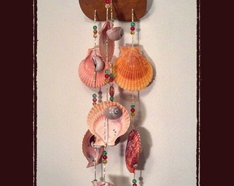 Sea Shell Suncather Windchime Nobilis Pectens, w/Crystals, Beads, Beach/Coastal/Nautical Decor, Patio/Yard/Garden Decor