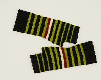 Women's Black Green Stripped Knit Fingerless Gloves Knitted Arm Warmers Wrist Warmers Half Finger Gloves